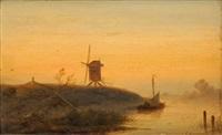 moulin au crépuscule by johannes franciscus hoppenbrouwers