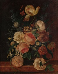 still life flowers (+ another; 2 works) by erich josef donau dogarth