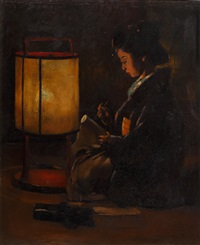 a japanese lady writing a scroll by lamplight by percy sturdee