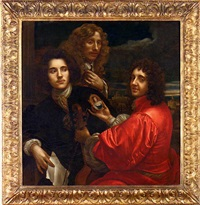group portrait of three gentlemen, one in a red doublet holding a viola da gamba in one hand and a miniature portrait in the other, the second in a brown coat with a silver cravat, holding a letter... by anton domenico gabbiani