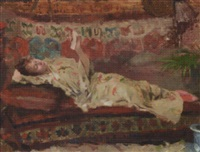 a reclining lady in a kimono by albert emile artigue
