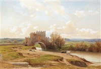 an italian landscape, with cattle by a river, a landscape beyond by jean achille bénouville