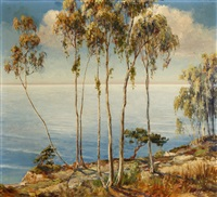 eucalyptus trees in a coastal landscape by henry leopold richter