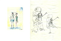 couple d'américains visitant paris (+ couple d'autostoppeurs, sketch; verso) by tim burton