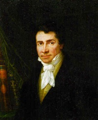 portrait of a gentleman, bust-length, in a black jacket and a cravat by joseph brodowski