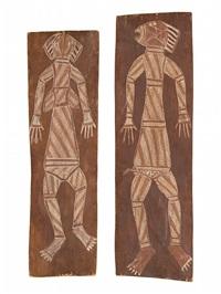 male spirit figure (ii) female spirit figure by jack madagarlgarl
