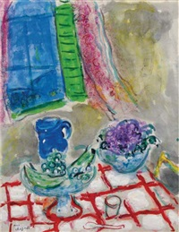 nature morte à la nappe quadrillée by marc chagall