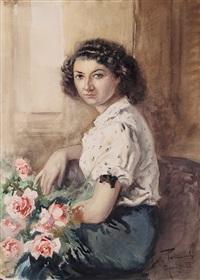 ragazza con rose by aldo raimondi