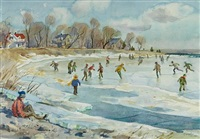 skating on lake st. louis at dorval, p.q. by henry john simpkins