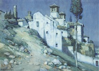 views of a spanish village (pair) by a. moulton foweraker