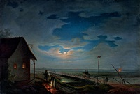 evening rest in hungary by moonlight (the toll by szolnok) by janos janko