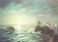 mermaids watching the setting sun by franz antoine