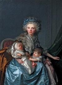 dame hollandaise entourée de ses deux enfants by antoine vestier