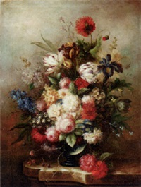 still life of oppulent flowers by francois gabriel