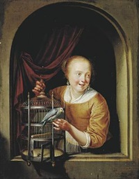 young girl with a bird's cage at a window by pieter cornelisz van slingeland