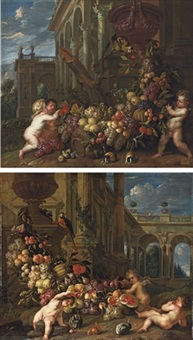 an architectural capriccio with putti around a swag of fruit (+ another; 2 works) by pieter abrahamsz ykens