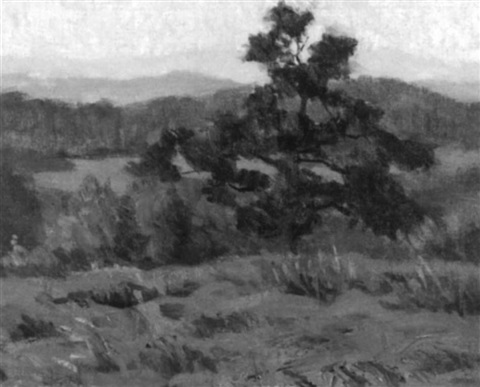 spring landscape with distant mountains by agnes anne abbot