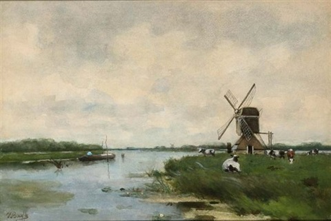 a river landscape with a windmill and cattle by victor bauffe