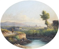 views of pisa (+ view of florence; pair) by e. altrui