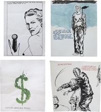 four works: (i) no title (i cut that...); (ii) no title (one wasn't the...), 2005 (iii) no title (ask for wholesale...), 2002; (iv) no title (in the face of...), 2005 by raymond pettibon