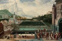 scènes de l'histoire de david et bethsabée dans les jardins d'un palais renaissance by lucas gassel