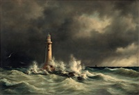 lighthouse at stora bält by daniel hermann anton melbye