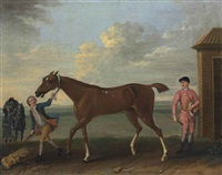 a chestnut racehorse held by a groom, with a jockey dismounted, by the king's stables, newmarket by john wootton