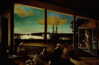 family on a plantation porch overlooking the river and flooded levee with a steamboat in the distance by john antrobus
