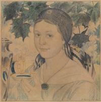 girl with a cup (portrait of maria shostakovich) by boris mikhailovich kustodiev