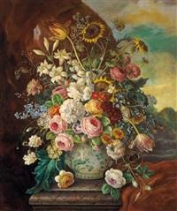 großes blumenstück mit sonnenblumen in landschaft by erich josef donau dogarth