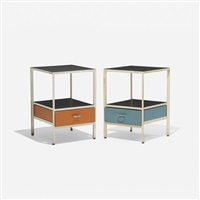 steelframe nightstands, pair by george nelson & associates