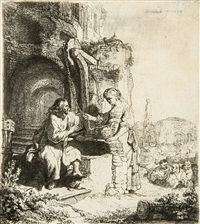 christ and the woman of samaria among ruins, at a well by rembrandt van rijn