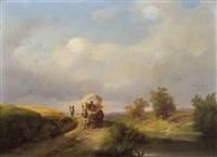 landschaft mit pferdefuhrwerk by ignaz raffalt