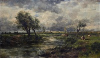 river landscape with cattle by johannes hubertus leonardus de haas