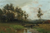 landscape with cattle by arthur parton