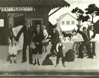 train station                        (painted in the 1930's) by hollis holbrook