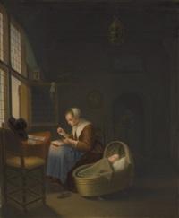 plaque of a dutch woman tatting lace by johannes (van delft) vermeer