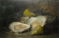 stilleven met oesters en citroen by leo van aken