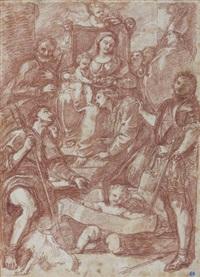 vierge à l'enfant adorée par une assemblée de saints, d'après un maitre by jean-robert ango