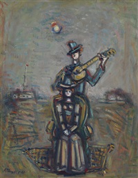 fashionable woman and cavalier with guitar by aleksandr grigor'evich tyshler