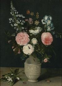 roses et iris dans un vase by jan brueghel the younger