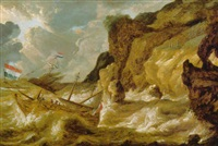 a man-o'-war foundering in a storm off a rocky coastline by bonaventura peeters the younger
