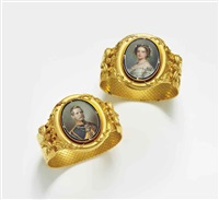 a pair of gilt-metal bracelets set with portraits of victoria, princess royal (1840-1901) by franz xaver winterhalter