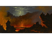 volcanic crater beneath a crescent moon by jules tavernier