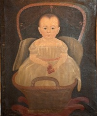 blue-eye baby in a rocking basket holding cherries and wearing a white dress with a pink sash by american school-prior-hamblen (19)