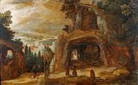 moines dans une grotte surplombant une vallée by joos de momper the younger