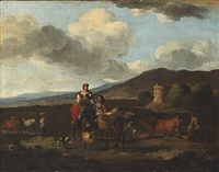 italian landscape. in the foreground a peasant woman riding a donkey. in the background a tower by karel dujardin