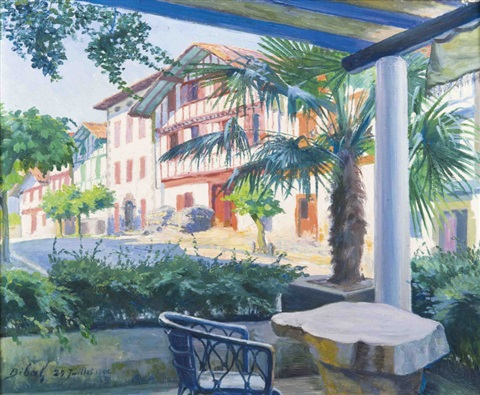 sur la terrasse au pays basque by françois ignace bibal