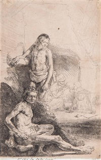 nude man seated and another standing, with a woman and a child in a baby walker in background by rembrandt van rijn