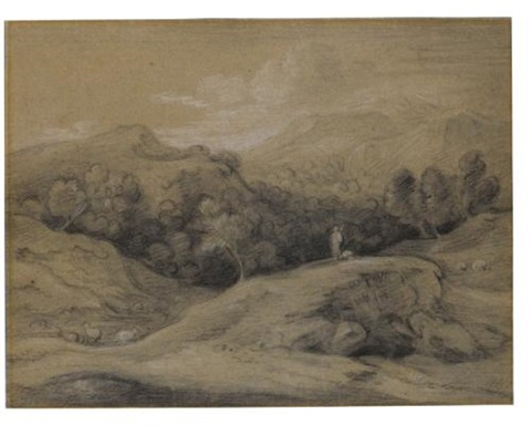 wooded landscape with shepherd, sheep and mountains by thomas gainsborough